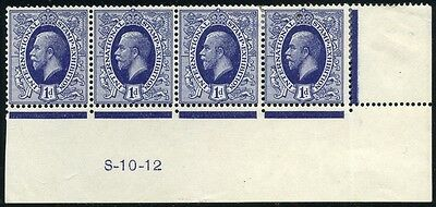 1912 KGV Waterlow 1d Ideal Stamp Control S-10-12 Strip
