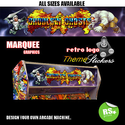 Ghouls and Ghosts Arcade Marquee Stickers Artwork Graphic / Laminated All Sizes