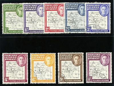 Falkland Is Dependencies 1946 KGVI Thin Maps set complete VF used. SG G9-G16.