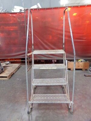 "4 Step 38"" Tall Rolling Ladder Mfg. Unknown"