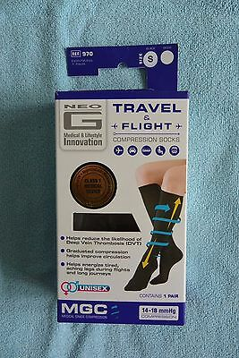 Neo G Compression Socks Black Travel And Flight Graduated size Small  1 pair