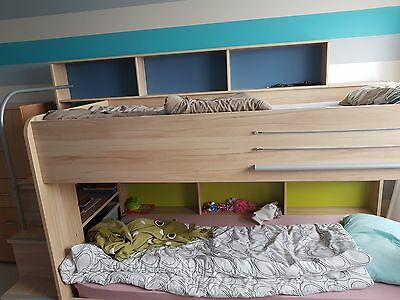 Bunk bed with mattress and storage. Can delivery.