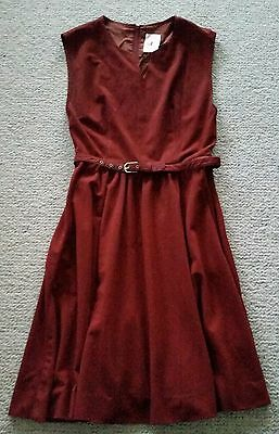 Genuine vintage maroon dress St Michael Made in UK sz 10 - 12 with belt