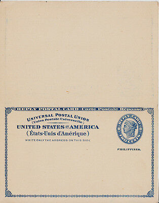 Philippines Postkarte/stationery with paid reply unused (04170)