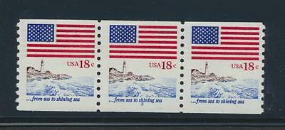 U.S. 1891 1981 18c Flag plate#coil strip of 3 NH cat. value $50