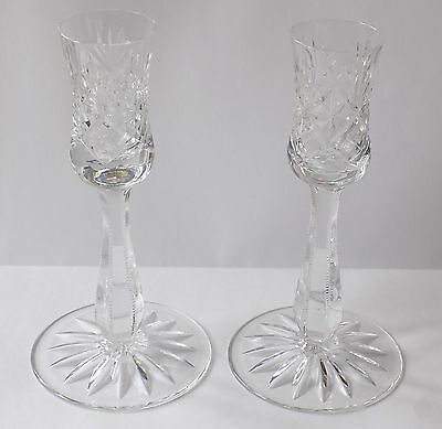 Pair Of Vintage Thomas Webb Crystal Cut Glass Candle Holders, Serrated Stems.