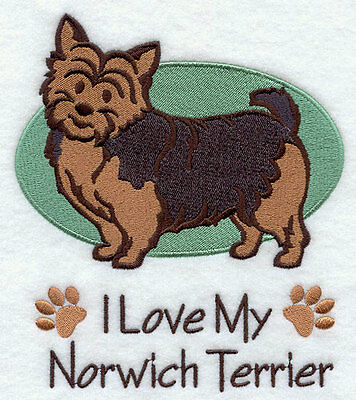 I Love My Norwich Terrier Dog SET OF 2 HAND TOWELS EMBROIDERED Beautiful