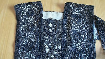 Antique Black Lace Bodice for Collar/Dress