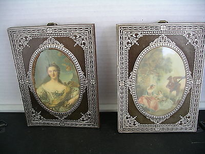 Pair Vintage Wall Art in Victorian Style Convex Pictures