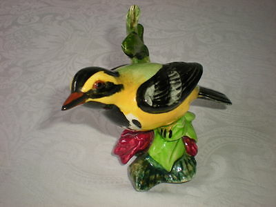 Stangl Bird Figurine Crested Goldfinch on a Branch W/ Flowers
