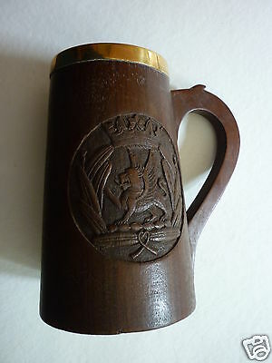 Wooden Tankard With Metal Liner Engraved Armorial Vintage Antique Bavarian ?