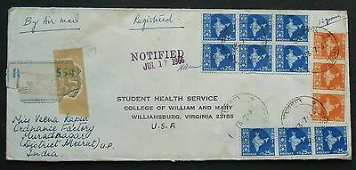 INDIA #  REGISTERED , AIR MAIL, POSTAL COVER to US 1966