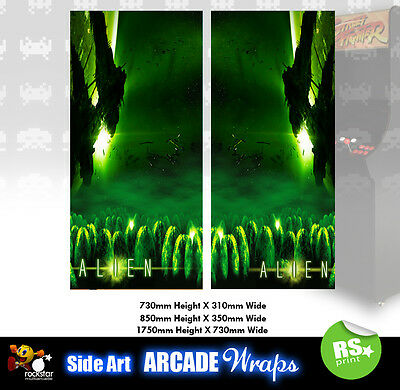 Alien V3  Arcade Side Artwork Panel Stickers Graphics / Laminated All Sizes