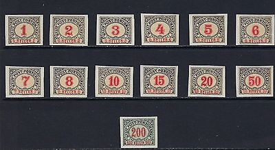 1904 Bosnia & Herzegovina Scott J1-J13 (Mi. 1U-13U) postage dues imperforate MH