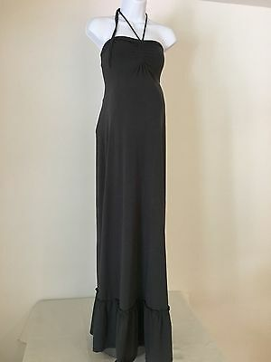 EUC  Maternity Maxi Dress Sleeveless Ruffled tie Neck Empire Waist Sz Medium