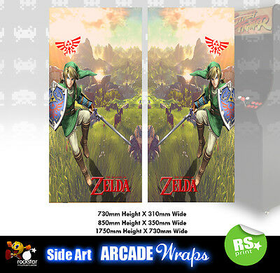 Zelda  Arcade Side Artwork Panel Stickers Graphics / Laminated All Sizes