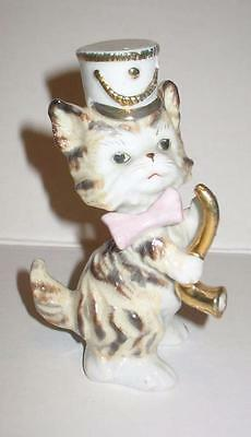 Vintage Porcelain White and Gold Cat in Band Hat Horn Pipe Pink Bow Tie Japan