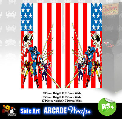 Marvel Arcade Side Artwork Panel Stickers Graphics / Laminated All Sizes