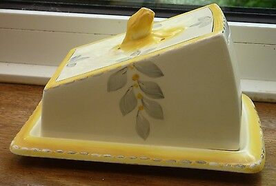 1930s Art Deco Burleigh Ware Zenith Bouquet/Sunshine Covered Cheese/Butter Dish
