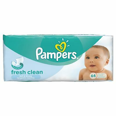 Pampers Fresh Clean Baby Wipes - 64 Wipes 1 2 3 6 12 Packs