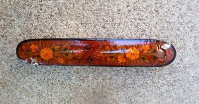Vintage Paper Mache Lacquered Pen Box with Floral decoration QULAMDAN Hand paint