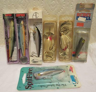 7 pc. Fishing Lures lure lot Rapala Sputter Ace Rebel AC Shiners SpitFire boxed