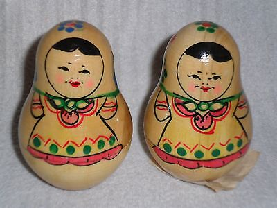 2 Vintage Matryoshka - Wooden Russian Dolls Wobbly With Bell