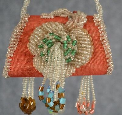 Native American Iroquois beaded whimsy sewing pocket purse antique original 1890