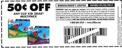 CLIF KID ZBAR Multipack Nutrition Bars $.50 off One Box-Lot of 20 - Exp 7/23/17