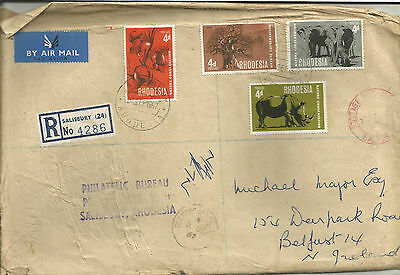 RHODESIA;POST UDI 1967 wrapper p/m SALISBURY RHODESIA + CONSERVATION stamps