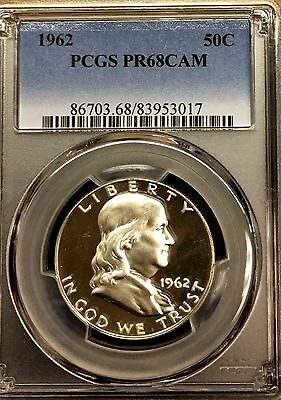 ***frosty Cameo Proof***1962 Franklin Silver Half Dollar Pcgs Pr68 Cam  #3017