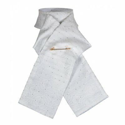 Shires Equestrian Ready Tied Horse Riding Brocade Stock - White
