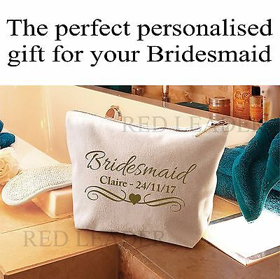 Personalised Bridesmaid Make Up Cosmetic Wash Bag ANY NAME DATE Wedding Gift