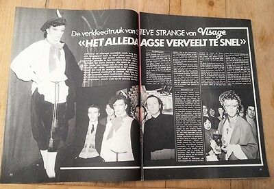 STEVE STRANGE (VISAGE) 2 page ARTICLE / clipping from a Belgian magazine