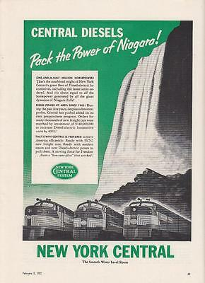 1951 NYC New York Central Railroad Ad: Diesels Pack the Power of Niagara Falls