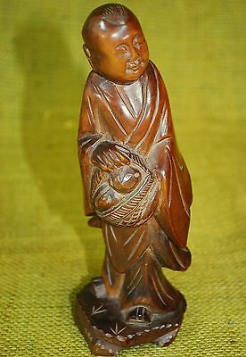 """Vintage Carved Wood Monk Statue / Figure with Basket of Bread - 7.25"""" Tall"""