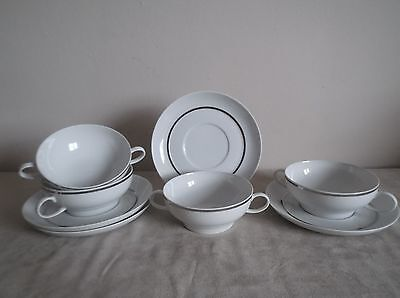 THOMAS ~ WIDE SILVER BAND ~   4 x SOUP BOWL AND SAUCERS