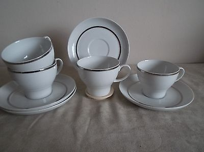 THOMAS ~ WIDE SILVER BAND ~   4 x TEA CUPS AND SAUCERS