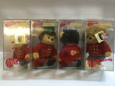NEW The Monkees Limited Edition Collectible Bear Complete Set of 4 1999