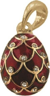 Faberge Egg Pendant / Charm Pinecone with crystals 2.1 cm red #6401-05