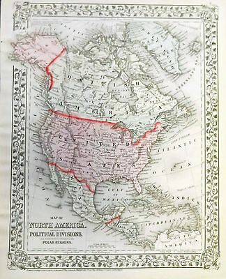 1874 Mitchell's Map of North America showing its Political Divisions,.(Original)