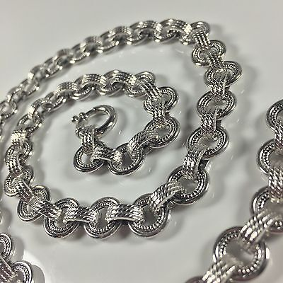14K Italy White Gold Fancy Rope & Circle  Link Necklace Chain 14.5 Grams