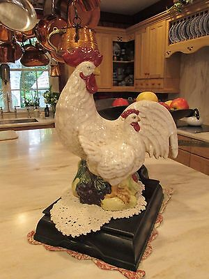 Vintage French Country Rooster Hen Provence Figurine Crackle Ceramic Aged Statue