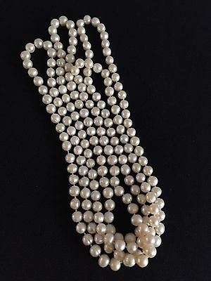 Vintage Knotted Long Pearl Necklace