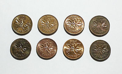 Canada 1 Cent Coins 1970-1972 and 1974-1978