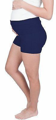 NEW! Maternity Shorts Pregnancy Yoga Shorts in Cotton -Fold over waist band