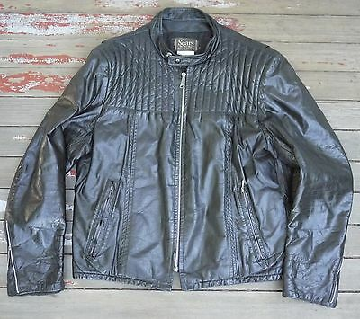 Vintage 1970s SEARS Skinny CAFE RACER Leather Motorcycle Jacket Size 44 L LARGE
