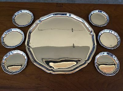 Antique Large Tray Platter Saucer Set WTB German Silver 835 Wilhelm Binder