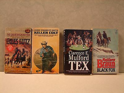 Lot Of 4 Paperback books, Western  by: Lutz, Smith, Braun & Mulford