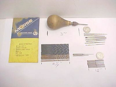 Vintage Jeweles Machinist Wood Handle Tool Holder + Pin Reamers + Morse Drills